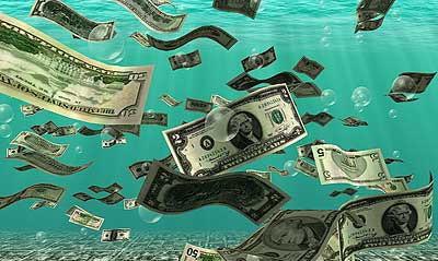 Dollars floating in water
