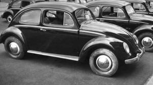 Black and white image of VW golf beetle